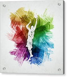 Basketball Player Art 24 Acrylic Print by Aged Pixel