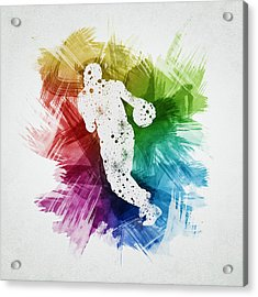 Basketball Player Art 26 Acrylic Print by Aged Pixel