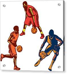 Basketball Player Dribble Woodcut Collection Acrylic Print