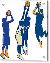 Basketball Player Shoot Ball Retro Collection Acrylic Print