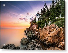 Bass Harbor Lighthouse Sunset Acrylic Print by Ranjay Mitra