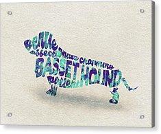 Basset Hound Watercolor Painting / Typographic Art Acrylic Print