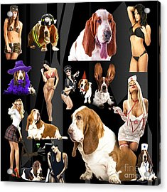 Bassets And Babes Acrylic Print by John Rizzuto