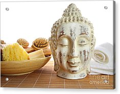 Bath Accessories With Buddha Statue Acrylic Print by Sandra Cunningham