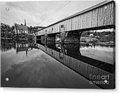 Bath Covered Bridge New Hampshire Black And White Acrylic Print by Edward Fielding