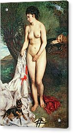 Bather With A Griffon Dog Acrylic Print by Pierrre Auguste Renoir