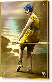 Bathing Beauty In Yellow  Bathing Suit Acrylic Print
