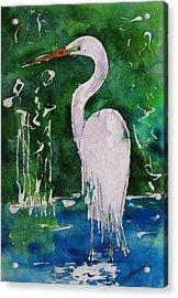 Batik Egret Acrylic Print