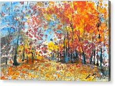 Batik Style/new England Fall-scape L-no.1 Acrylic Print by Sumiyo Toribe