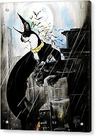 Batman Boston Terrier Caricature Art Print Acrylic Print
