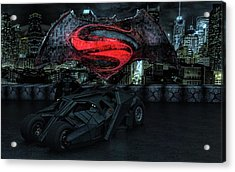Acrylic Print featuring the photograph Batman Versus Superman by Louis Ferreira