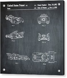 Batmobile 1990 Patent In Chalk Acrylic Print