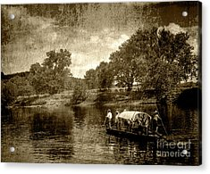 batteau on the James Acrylic Print by Pete Hellmann