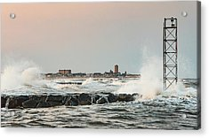 Battering The Shark River Inlet Acrylic Print by Gary Slawsky