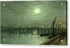 Battersea Bridge By Moonlight Acrylic Print by John Atkinson Grimshaw