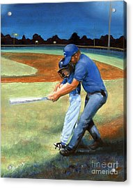 Acrylic Print featuring the painting Batting Coach by Pat Burns