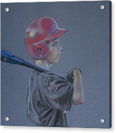 Batting Helmet Acrylic Print by Linda Eades Blackburn