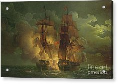 Battle Between The Arethuse And The Amelia Acrylic Print by Louis Philippe Crepin