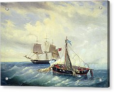 Battle Between The Russian Ship Opyt And A British Frigate Off The Coast Of Nargen Island  Acrylic Print by Leonid Demyanovich Blinov