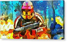 Battle In The Forest - Pa Acrylic Print by Leonardo Digenio