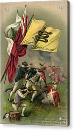 Battle Of Bunker Hill With Gadsden Flag Acrylic Print by American School