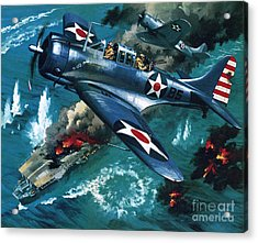Battle Of Midway Acrylic Print by Wilf Hardy