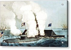 Battle Of The Monitor And Merrimack Acrylic Print by War Is Hell Store