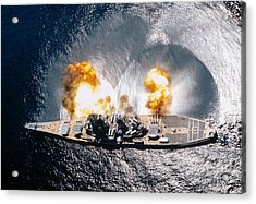 Battleship Iowa Firing All Guns Acrylic Print by Stocktrek Images