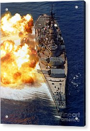 Battleship Uss Iowa Firing Its Mark 7 Acrylic Print