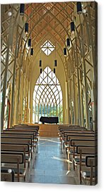 Acrylic Print featuring the photograph Baughman Meditation Center - Inside Rear by Farol Tomson