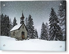 Bavarian Winter's Tale Anna Chapel Acrylic Print by Melanie Viola
