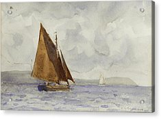 Acrylic Print featuring the painting Bawley Running Up The Coast by Henry Scott Tuke