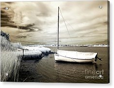 Bay Boat Brown Infrared Acrylic Print by John Rizzuto