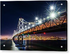 Bay Bridge And San Francisco By Night 5 Acrylic Print