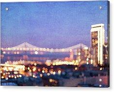 Bay Bridge Glow Acrylic Print by Melanie Alexandra Price