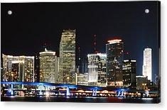 Bay Front Miami Skyline Acrylic Print by Gary Dean Mercer Clark