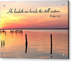 Bay Sunset Still Waters Psalm Acrylic Print