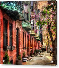 Bay Village Brownstones And Cherry Blossoms - Boston Acrylic Print by Joann Vitali