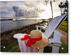 Bay With A Straw Hat And Adirondack Chairs Hamilton Bermuda Acrylic Print by George Oze