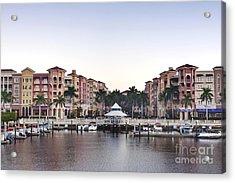 Bayfront Shopping Center And Marina Acrylic Print by Rob Tilley