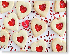 Acrylic Print featuring the photograph Be Mine Heart Cookies by Teri Virbickis