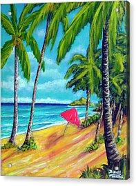 Beach And Mokulua Islands  #368 Acrylic Print by Donald k Hall
