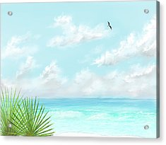 Acrylic Print featuring the digital art Beach And Palms by Darren Cannell