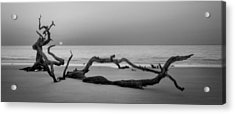 Beach Art Cropped In Black An White Acrylic Print