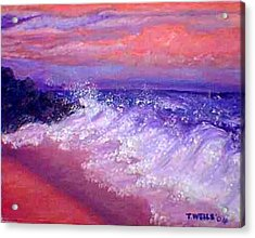 Beach At Sunrise Acrylic Print by Tanna Lee M Wells