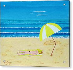 Beach Babe With All She Needs Acrylic Print by Alex Mortensen