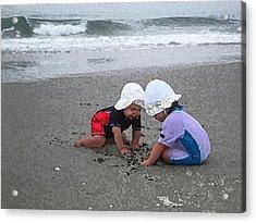 Beach Babies Acrylic Print by Paul Barlo