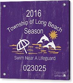 Beach Badge Long Beach Acrylic Print