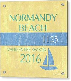 Beach Badge Normandy Beach 2 Acrylic Print