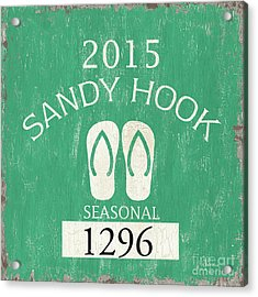 Beach Badge Sandy Hook Acrylic Print by Debbie DeWitt